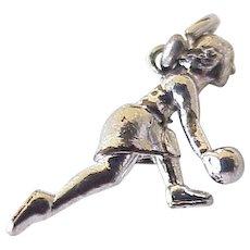 Bowling Girl Vintage Sports Charm Three-Dimensional Sterling Silver