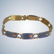 Vintage Sterling Silver Floral Bracelet Colorful Enamel With Gold Wash