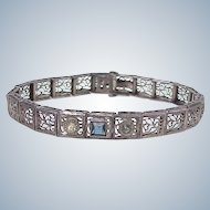 Art Deco Filigree Bracelet Sterling Silver, Faux Sapphire & Diamond Accent