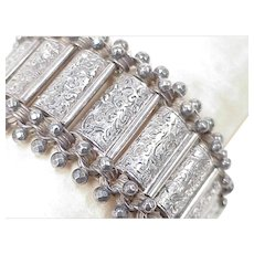Edwardian Wide Book Link Bracelet Sterling Silver