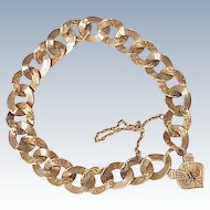 Victorian Bracelet With Heart Lock Hand Crafted / Engraved 14k Gold