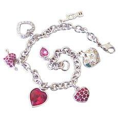 Swarovski Signed Heart Charm Bracelet Silver Tone
