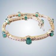 Natural Emerald & Diamond Bracelet 5.94 Carats 14k Golf