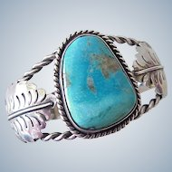 Native American Vintage Cuff Bracelet Sterling Silver & Turquoise circa 1970's