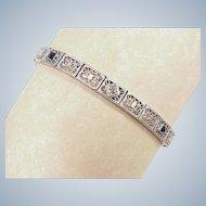 Art Deco Diamond & Sapphire Filigree Bracelet 14K White Gold