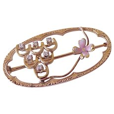 Edwardian Era Brooch 10K Rose Gold Diamond Accent