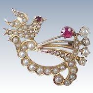 Victorian Era Jeweled Dove Brooch 14k Gold Seed Pearl, Ruby & Garnet