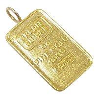 Vintage Fine Gold 999.9 Bullion Bar Pendant / Charm