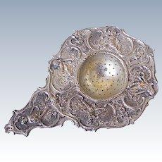 German 800 Silver Ornate Victorian Tea Strainer Musical Cherub/Putti Motif