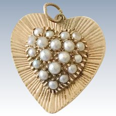 Jeweled Heart Vintage Charm 14K Gold & Cultured Pearl circa 1950's