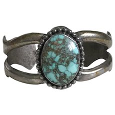Native American Crafted Cuff Bracelet Sterling Silver & Turquoise Signed JP