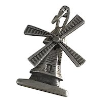 Moving Windmill Charm Three-Dimensional Sterling Silver circa 1960's