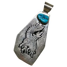 Navajo BIG Eagle Dancer Pendant by Wes Craig Sterling Silver & Turquoise