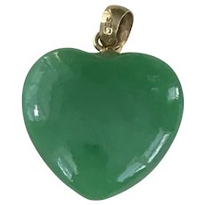 Apple Green JADE Heart Pendant / Charm 14K Gold, Alt. March Birthstone