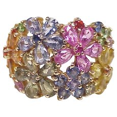 Colorful Sapphire Floral Fashion Ring 14K Gold circa 1980's