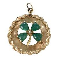 Big Jeweled Four Leaf Clover Vintage Charm 14K Gold circa 1960's