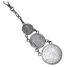 Victorian Silver Coin Love Token Fob or Pendant 1886