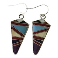 Native American Crafted Intarsia Inlay Dangle Earrings Sterling Silver