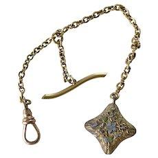 Victorian Era Watch Fob & Enameled Charm 14K Gold / 10K Rose Gold