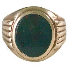Gents Vintage Ring Bloodstone / Heliotrope 10K Gold