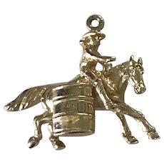 Equestrian / Rodeo Barrel Racer Vintage Charm / Pendant 14K Gold