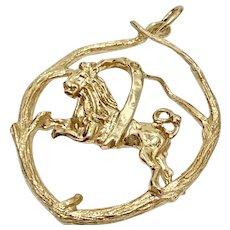 LEO The Lion Big Zodiac Pendant 14K Gold