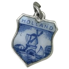 Holland Vintage Charm Colorful Glass Enamel Sterling Silver