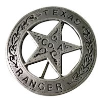 Texas Ranger Co. A Pin/Badge Sterling Silver