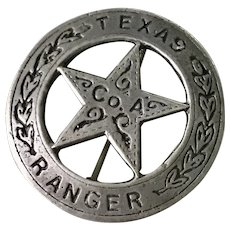 Texas Ranger Co. A Pin/Badge Sterling Silver
