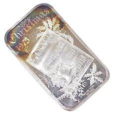 Fine Silver Bar .999 1 OZ Christmas 1973 Joy to the World