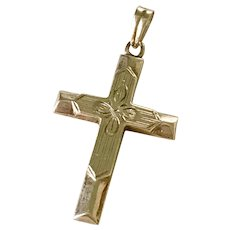 Ornate Cross Vintage Pendant 14K Gold