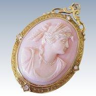 Victorian Cameo Pendant / Brooch 14k Gold Diamond Accent