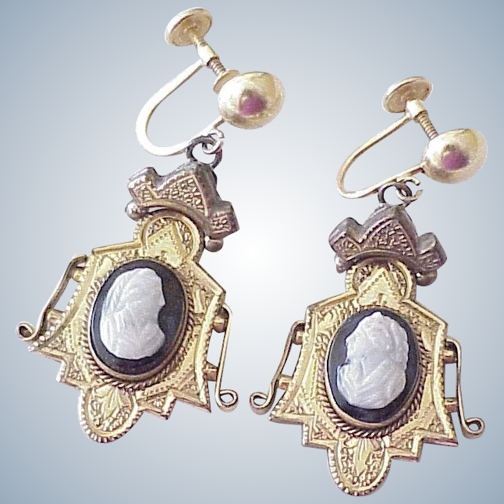 adf9c2b0a Victorian Hard Stone Cameo Earrings 14K & Gold Filled : A Charmed Life |  Ruby Lane