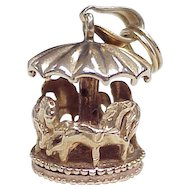 Vintage Moving Carousel / Merry-Go-Round Charm 14k Gold circa 1950's