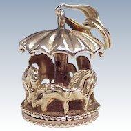 Vintage Moving Carousel / Merry-Go-Round Charm 14k Gold circa 1950's