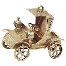 Big Vintage Moving Jeweled Charm 14K Gold, Early Automobile