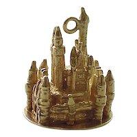 Vintage Disney Charm 14k Gold Cinderella's Castle, Three Dimensional