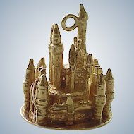 Vintage Disney Charm 14k Gold Cinderella's Castle, Three Dimensional