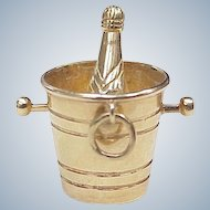 BIG Vintage 14k Gold Charm Champagne in Ice Bucket Circa 1950's, Three Dimensional
