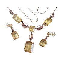 Edwardian Citrine Necklace & Earring Set 33.0 CTW, 10k Gold