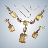 Edwardian Citrine Necklace & Earring Set 33.0 CTW, 10k Gold
