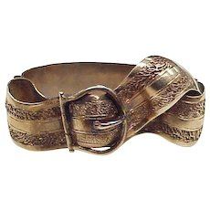 Rare Victorian 10K Gold Garter Buckle Style Scarf Clip