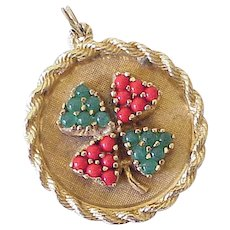 Big Colorful Jeweled LUCKY Clover Charm 14k Gold 1950-60's