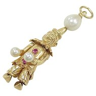 Vintage 14k Gold Articulated Jeweled Clown Charm circa 1950-60's, Three Dimensional