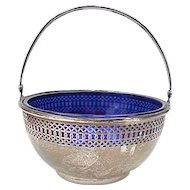 Sterling Silver Small Basket / Bowl With Cobalt Glass Liner