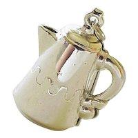Vintage  Sterling Silver Coffee Pot Charm by Jewel Art circa 1960's Three Dimensional