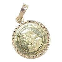 Vintage 24/14k Gold Historic Commemorative Charm 1492-1992 Christopher Columbus / Santa Maria