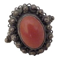Vintage Red Coral Ring 800 Silver Cannetille Filigree circa 1950's