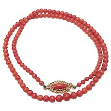Ox Blood Coral Bead Necklace, 18K Gold, Graduated 3.4 to 5.6 mm