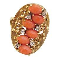 Vintage Big Modernist Ring 18K Gold Red Coral & Diamond circa 1960's